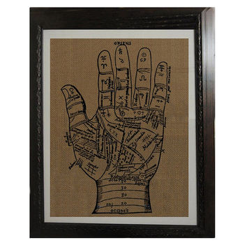 Home Decor Gypsy Palmistry Divination Screen Printed Burlap for Wall Frame 10 x 14