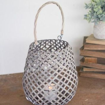 Grey Willow Lantern With Wire Frame & Glass - Large