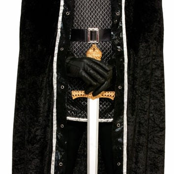 Faux Fur Trimmed Cape - Black - Male
