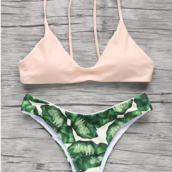 CUTE LEAF NUDE TWO PIECE BIKINI