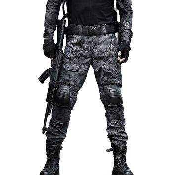 Tactical Pants Military Cargo Pants Men Knee Pad SWAT Army Airsoft Camouflage Clothes Hunter Field Work Combat Trouser Woodland