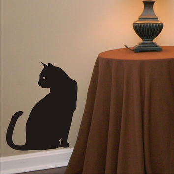 sitting cat vinyl wall art decal sticker
