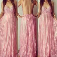 Lace Paneled Backless Maxi Dress in White and Pink