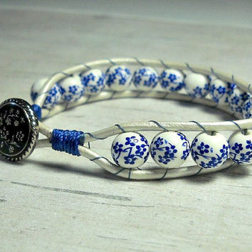 Blue Flowers Leather Bracelet, Bead Bracelet, Single Leather Bracelet