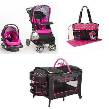 Disney Minnie Pop Baby Bundle Baby Gear Bundle Collection,Stroller Travel System, Play Yard