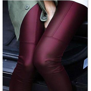 New 2017 Spring Fashion woman Full Leather Patchwork Repair The Fitting Female Ankle Length Trousers Faux Leather pants