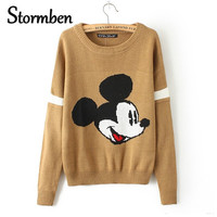 mickey pullover sweater women Christmas knitted cartoon print Loose Long Sleeve one size Sweaters Pull Femme SBK2-11