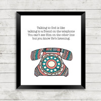 Telephone Art, Spiritual Quote Art, Telephone, Scripture Art, Zentangle