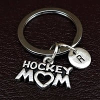 Hockey Mom Keychain, Custom Keychain, Custom Key Ring, Hockey Pendant, Hockey Charm, Hockey Jewelry, Field Hockey Keychain, Ice