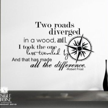 Wall Decals Quote Road Less Traveled Robert by singlestonestudios