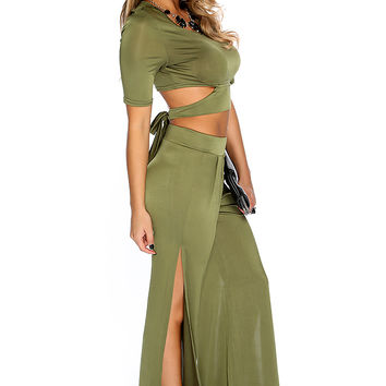 Olive Side Cutout Crop Top High Waist Pants 2.Piece Outfit