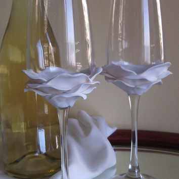 Wedding Glasses White Rose Champagne Flutes Hand Decorated Set of 2