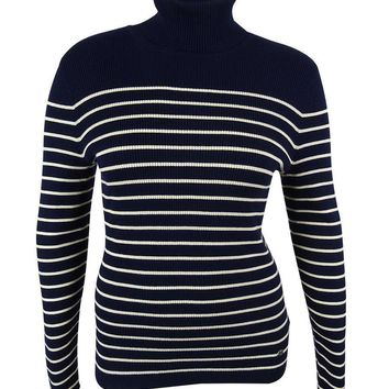 Ralph Lauren Women's Striped Turtleneck Sweater