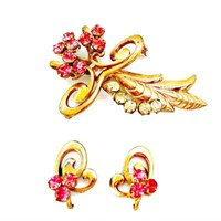 Pink and Clear Rhinestone Brooch and Earrings Set Botanical Gold Tone