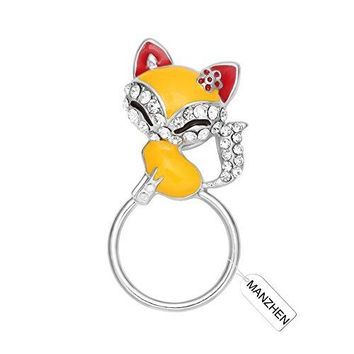 MANZHEN Lovely Fox Animal Brooch Crystal Fox Magnetic Eyeglass Holder PinBrooch Jewelry for Clothes