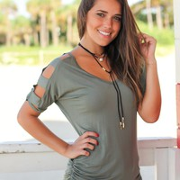 Olive Top with Strap Detail Sleeves