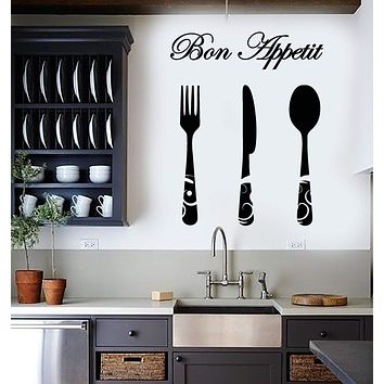 Vinyl Wall Decal Kitchen Decor Bon Appetite Quote Cutlery Fork Knife Stickers (2693ig)