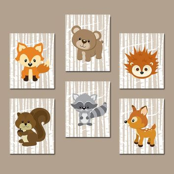 WOODLAND Nursery Art, Woodland Nursery Decor, Birch Tree Forest Animals Wall Art, Woodland Baby Shower, Canvas or Print Set of 6 Wall Decor