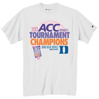 Champion Duke Blue Devils 2013 NCAA ACC Women's Basketball Tournament Champions Locker Room T-Shirt - White - http://www.shareasale.com/m-pr.cfm?merchantID=7124&userID=1042934&productID=555854620 / Duke Blue Devils