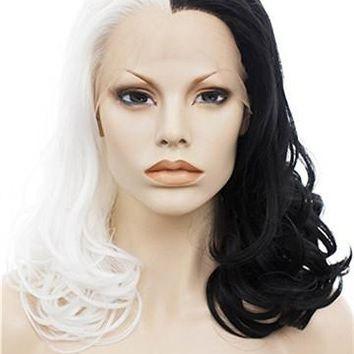 Half Black Half White Middle Length 16 Inches Wave Synthetic Lace Front Wig