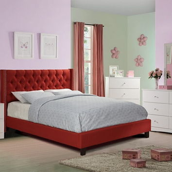 4 pc Janelle collection carmine faux linen tufted upholstered queen bed set