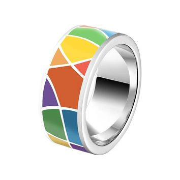 Fashion Colorful Geometric Jigsaw Puzzles 925 Sterling Silver Ring