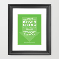 The Office Dwight Schrute Quote Season 1 Episode 1 - Downsizing - Green and White Framed Art Print by Noonday Design