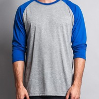 Men's Baseball T-Shirt TS900 (Grey/Royal Blue) - B12C