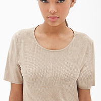 FOREVER 21 Perforated Faux Suede Top Taupe