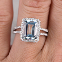 10x12mm Big Emerald Cut Aquamarine Engagement ring,0.45ct Diamond wedding band,14K Gold,Blue Gemstone Promise Bridal Ring,Split Shank,Halo