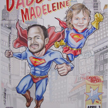 Superhero Dad or Mom with Superboy or Supergirl Custom Portrait of Two