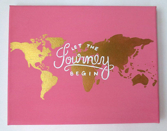 Traveling Quote Canvas Painting Pink And From Shopsydney On Etsy