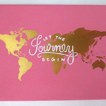 Traveling quote canvas painting pink and from shopsydney on etsy traveling quote canvas painting pink and gold canvas let the journey begin quote gumiabroncs Images