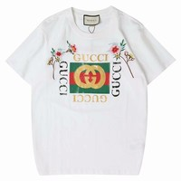GUCCI Couple models Embroidery printing wild cotton Tee Shirt White