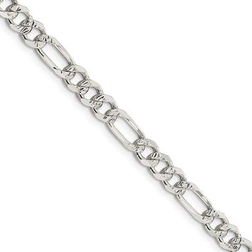 5.5mm, Sterling Silver, Pave Flat Figaro Chain Necklace