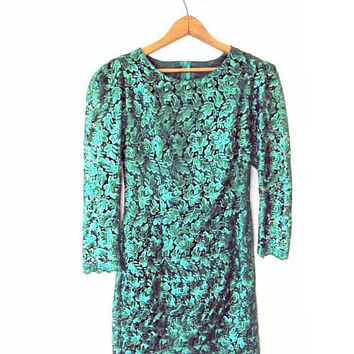Wms Vintage Emerald Green ROSE Long Sleeve LACE Party Formal Dress Sz S/M