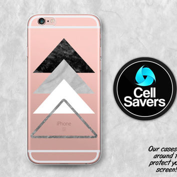 Triangles Clear iPhone 6s Case iPhone 6 Case iPhone 6 Plus iPhone 6s Plus iPhone 5c iPhone SE Clear Case Marble Texture Triangle Art Cute