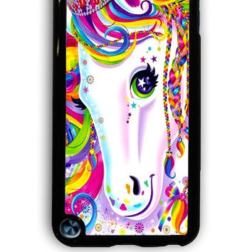IPod 5 Case - Hard (PC) Cover with Lisa Frank Majesty The Rainbow Horse Plastic Case Design