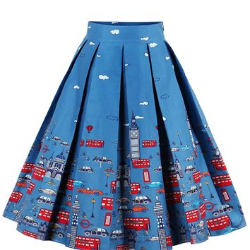 Cartoon Print Box Pleated Skirt