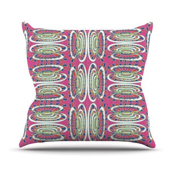 "Miranda Mol ""Bohemian Wild"" Pink Abstract Outdoor Throw Pillow"