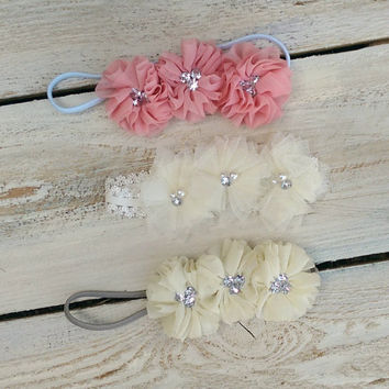 Flower Crown Headband,Half Flower Crown, Baby Flower Crown, Baby Girl Newborn Headband, flower girl head band, baby toddler flower head band