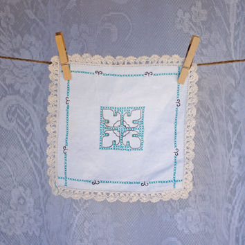 Vintage Doily with Crochet Edge and Hand Embroidery in cream, black and green, cross stitch design tray cloth