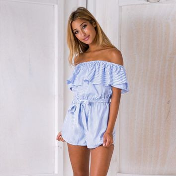 Off the Shoulder Ruffles Blue Stripe Women Rompers Casual Loose Sexy Backless Strapless Playsuit Overalls Short Pant Jumpsuit