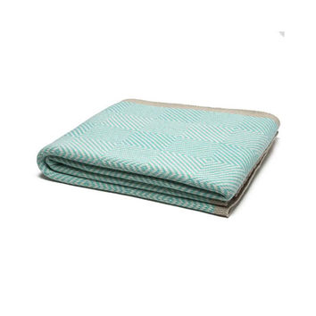 Seafoam Woven Square Cotton Throw Blanket