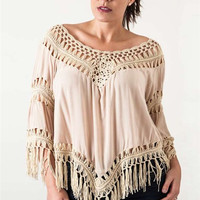 Crochet Knit Frayed Top - Beige