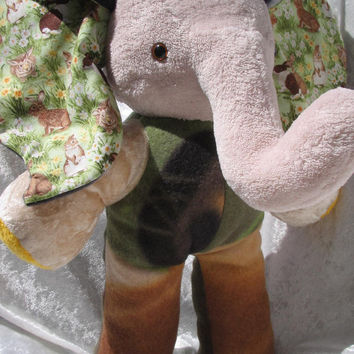Fearless Rabbits Forest ELEPHANT - green moss beige sand Luxury Life-Style soft stuffed plush wild Animal - Handmade OOAK