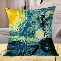 Jack Skellington's Starry Night  on Square Pillow Cover