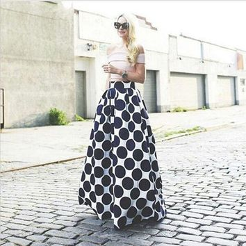 ONETOW Fashion Polka Dot Printed Long Skirt = 5660124993