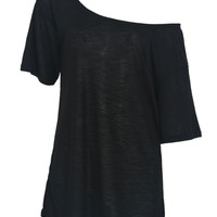 Black Off Shoulder Split Side T-shirt