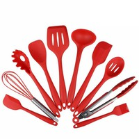 10Pcs/set Cooking Tool Sets Silicone Heat Resistant Kitchen Cooking Utensils spatula Non-Stick Baking Tool  tongs ladle gadget